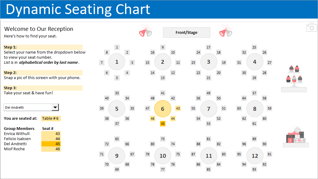 Seating Chart Planner Excel Hash, Seating Chart Template Round Tables
