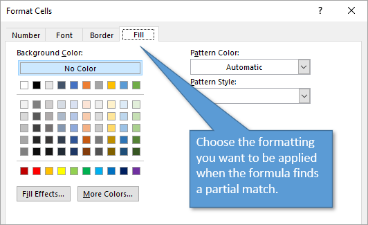 Format cells when partial match is found