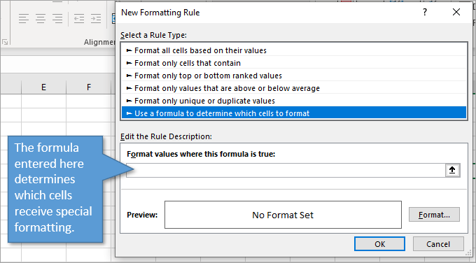 Formula determines conditional formatting