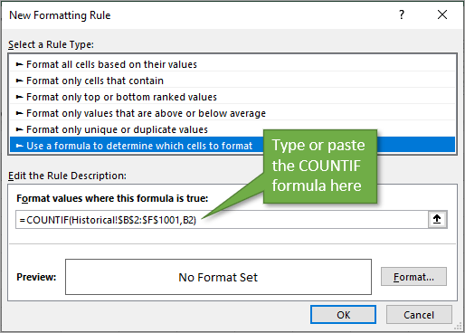 New Formatting Rule Window with COUNTIF Formula