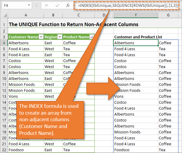 The INDEX formula is used to create an array from non-adjacent columns