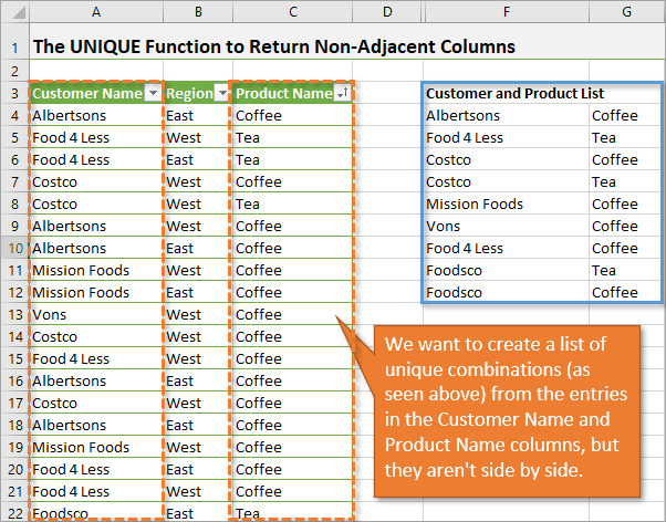 Using the unique function to return from nonadjacent columns