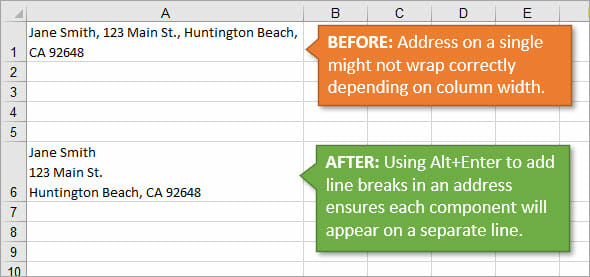 Add Line Breaks to Address with Multiple Lines in Excel