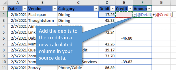 Add debits to credits in calculated column