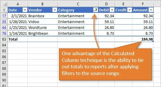 Calculated Column on Bank Statement Good for Comparing Filtered Range to Report Summary
