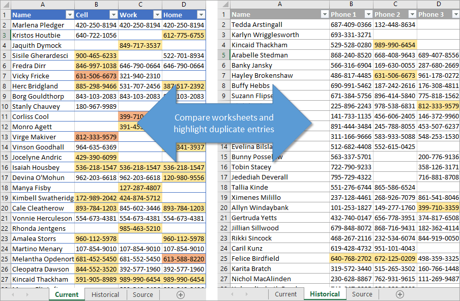 Compare worksheets and highlight duplicate entries