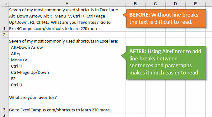 Excel Line Breaks and Text Wrapping Between Paragraphs and Sentences in Same Cell