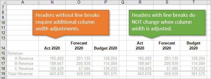 Excel Report Headers With and Without Line Breaks Comparison