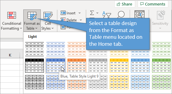 Format as Table menu on the Home tab