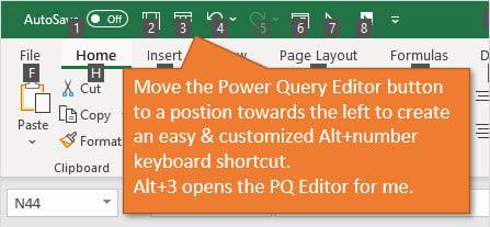 Power Query Editor Button QAT Keyboard Shortcut