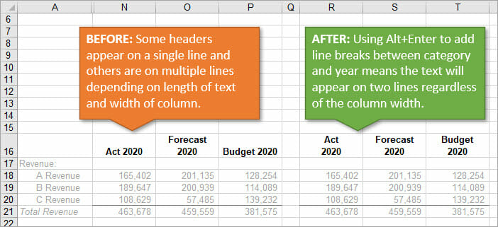 Report Headers in Excel Before and After Line Breaks to Wrapt Text