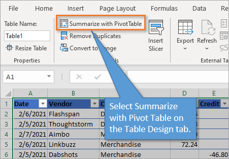 Summarize with Pivot Table