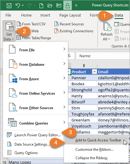 Add Launch Power Query Editor to Quick Access Toolbar