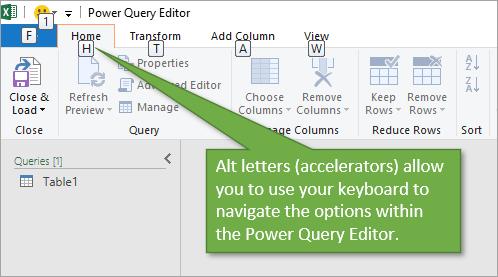 Alt sequences to navigate power query editor