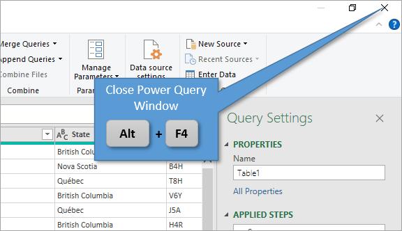 Close Power Query Window Keyboard Shortcut