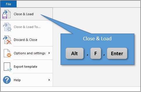 Close and Load Keyboard Shortcut Power Query Editor