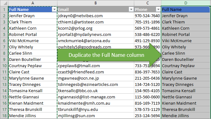 Duplicate the Full Name Column