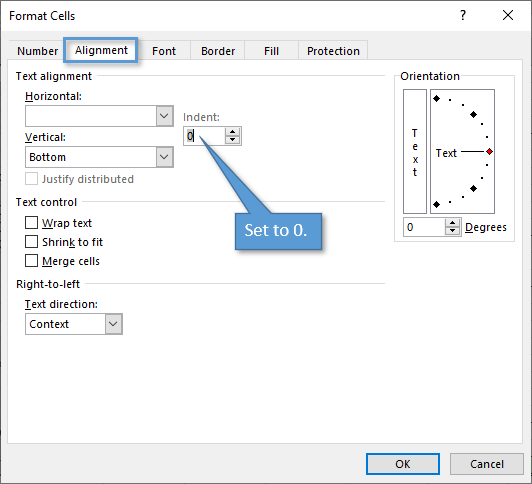 Indent Setting on alignment Tab of Format Cells Window
