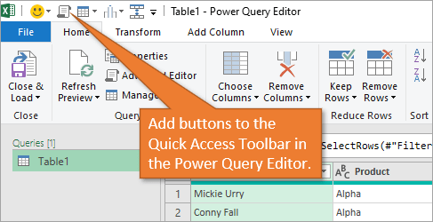 Quick Access Toolbar in Power Query Editor
