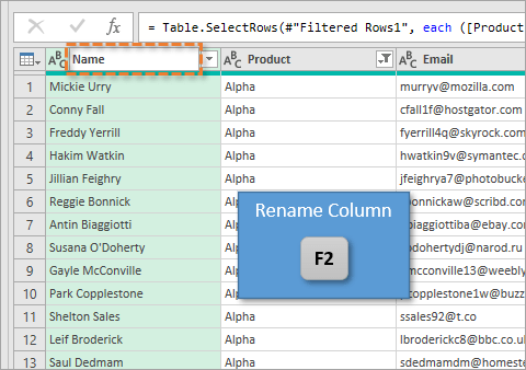 Rename Column with F2