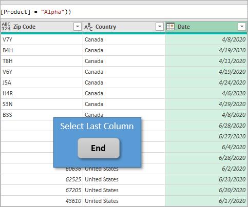 Select Last Column End Key