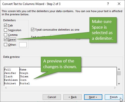 Convert Text to Columns Wizard step 2