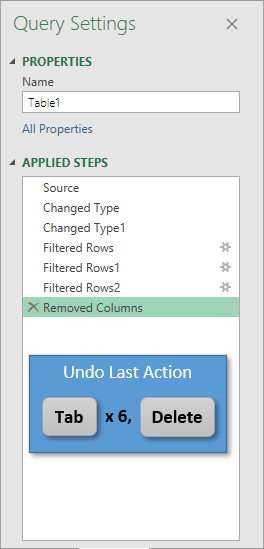 Undo Last Action Tab Six Times Delete in Power Query