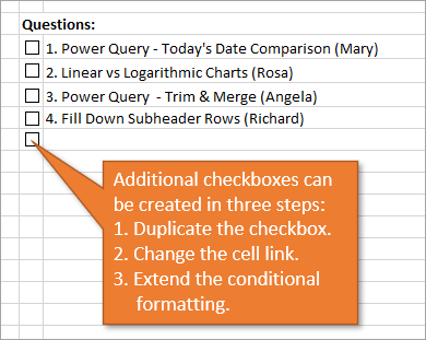 Additional checkboxes