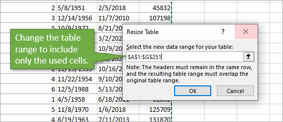 Change table range in Resize Table Window