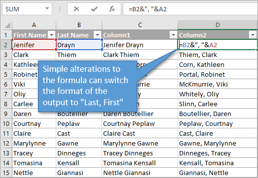 Combine Text using Ampersand in Formula, Last name first