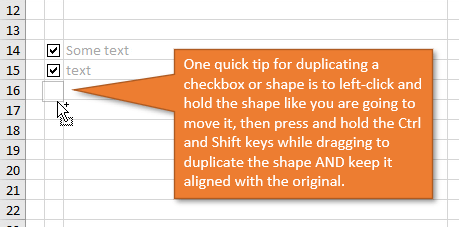 Duplicate Checkbox with Mouse Drag plus Ctrl and Shift