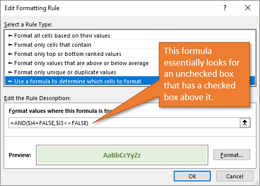 Make a rule to look for an unchecked box with a checked box above it.