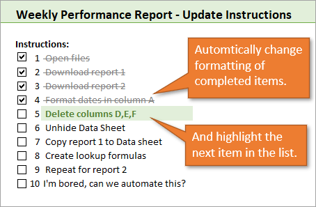 Excel Checkbox with Conditional Formatting to Highlight Next Item in List