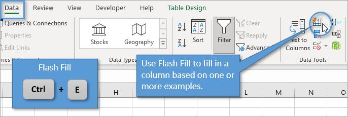 Flash Fill Button Ctrl + E
