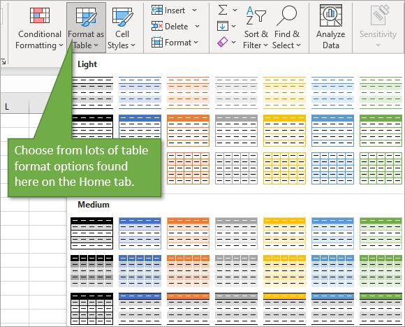 Format as Table menu