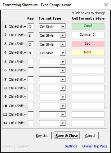 Formatting Shortcuts Add-in