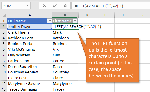 LEFT function pulls the leftmost characters