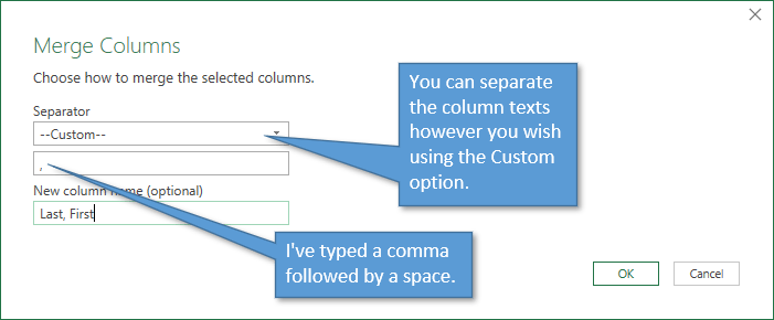 Merge Columns Window Custom separator