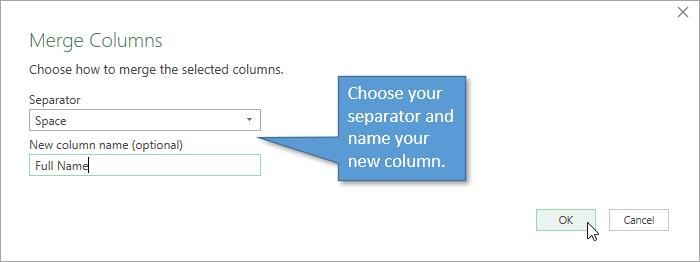 Merge Columns Window