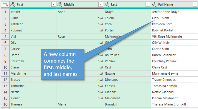 Power Query Editor Preview with Merged Column