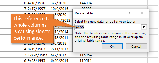 Resize table window referencing whole columns