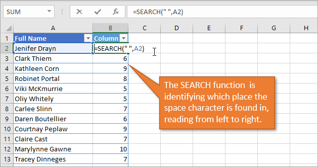 SEARCH function to identify space character