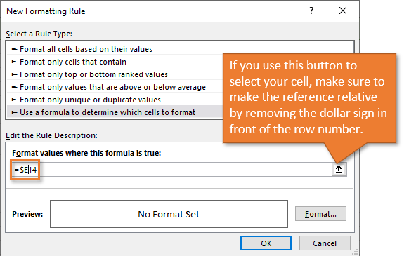 New Formatting Rule Window