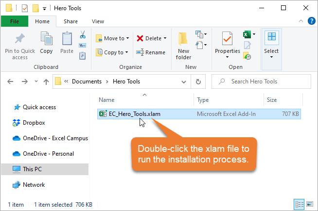 Double Click the EC_Hero_Tools xlam file to run installation process