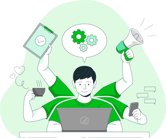 Make Excel Work Harder for You - Guy at computer with many arms EC Logo