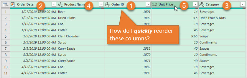 Power Query Quickly Reorder Multiple Columns