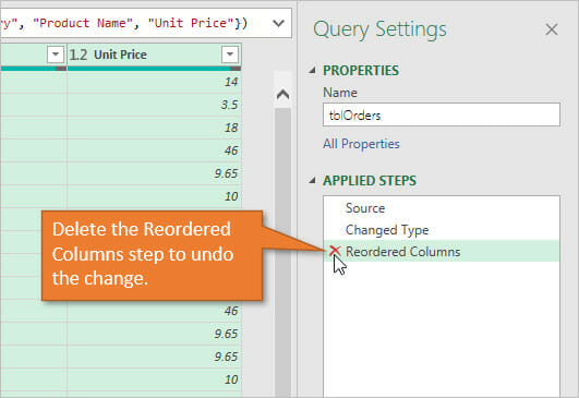 Power Query Reorder Columns - Delete the Reordered Columns Step to Undo