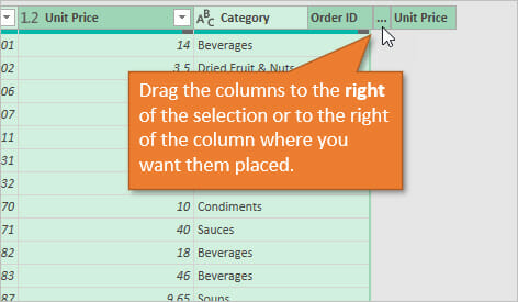 Power Query Reorder Columns - Drag Columns to Right of Selection