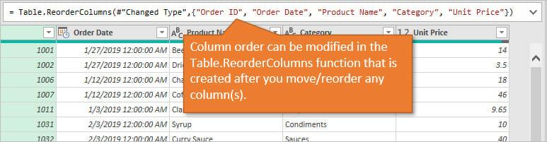 Power Query Reorder Columns - Modify the Table ReorderColumns Function