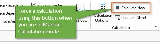 Calculate now button for manual calculation mode